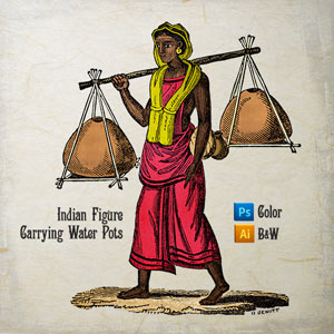 Vector art of Indian Figure Carrying Water Pots