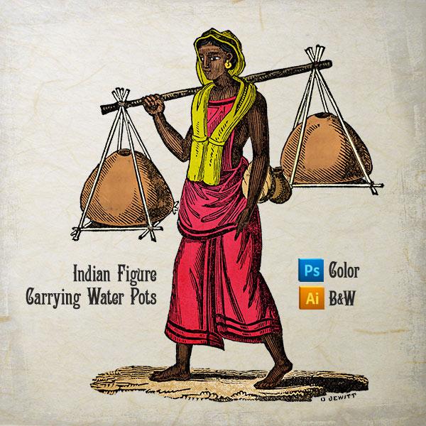 Vector art of Indian Figure Carrying Water Pots