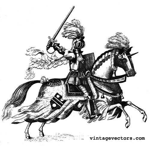 Vector art of Medieval Knight on Horseback with feathered plumes wielding a sword