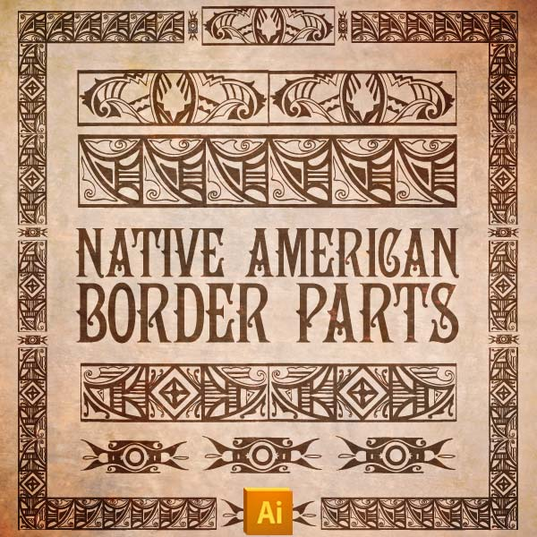 Vector art of Native American Border Parts Kit and Pattern Brushes