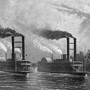 Antique Engraving of Paddle Boats on the Mississippi River