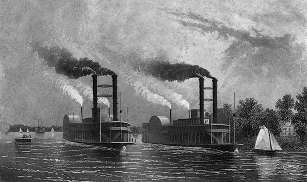 Antique Illustration of Paddle Boats on the Mississippi River