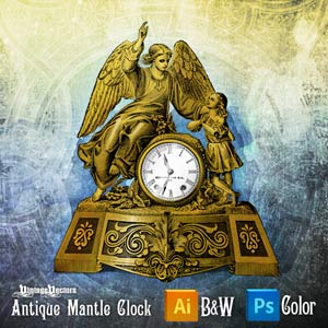 Vector art of Antique Mantle Clock With Angel and Child Statues