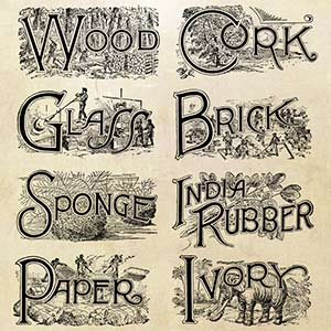 Free vector art download old engraved emblems: Brick, Cork, Glass, Rubber (India), Ivory, Paper, Sponge, Wood