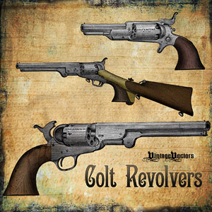 Vector art of 3 Colt Revolver Pistols