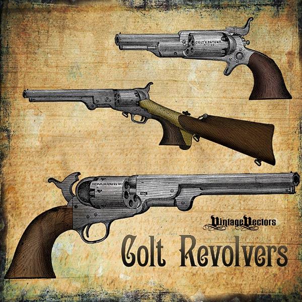 Vector art of 3 Colt Revolver Pistols
