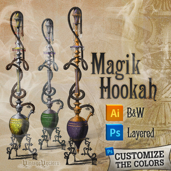 Vector art of smoking hookah pipe