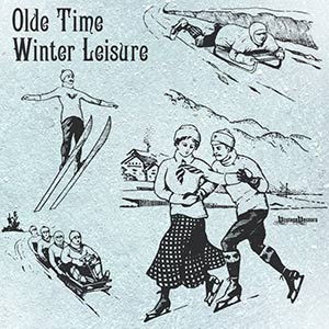 Vector art of Olde Time Ice Skating Couple, Sledder and Ski Jumper