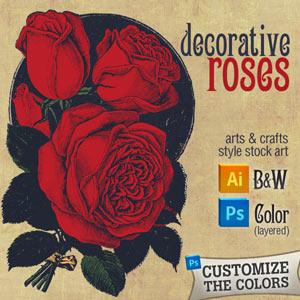 Vector art of roses - Arts & Crafts style rose graphic