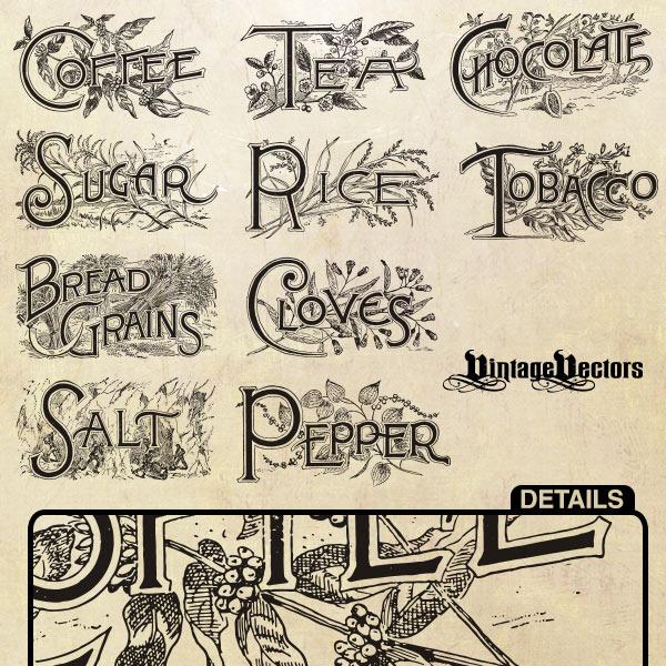 Free vector art download old engraved emblems: Bread Grains, Chocolate, Cloves, Coffee, Pepper, Rice, Salt, Sugar, Tea, Tobacco.