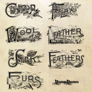 free vector emblems: Cotton, Feathers, Flax, Furs, Leather, Silk, Wool