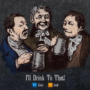 Vector art of three men toasting with beer in mugs