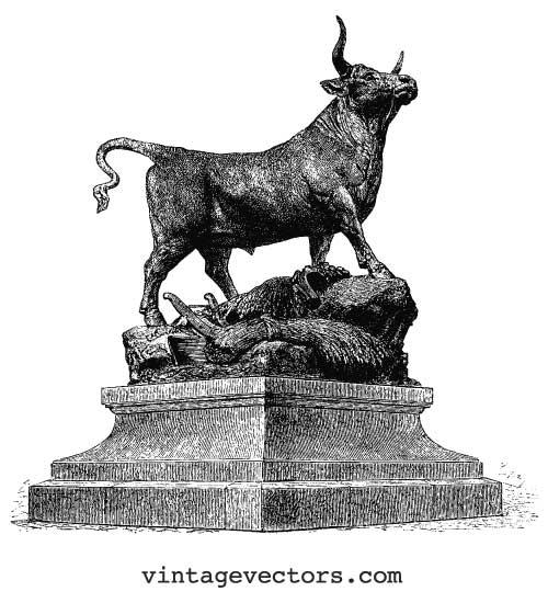 Vector art promo of a bull, posing on a pedestal