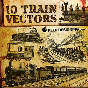 Vector art of old trains and rail cars