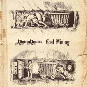 2 old engravings of children pulling coal carts in old coal mines.