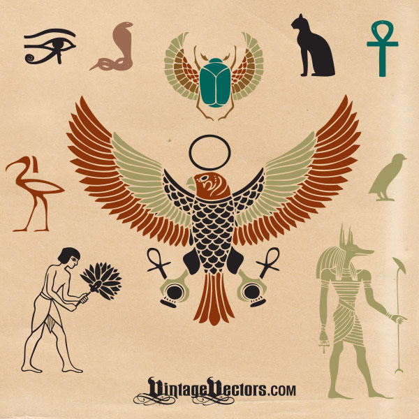 Egyptian symbols vector art