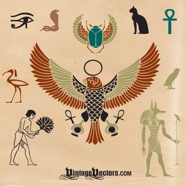 Vector Art Egyptian Cultural Symbols Vectors Vintage Vectors