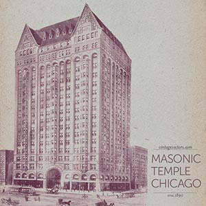 Vintage Illustration Chicago Masonic Temple circa 1890