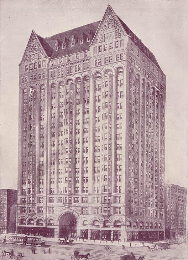 Vintage Illustration Chicago Masonic Temple circa 1890