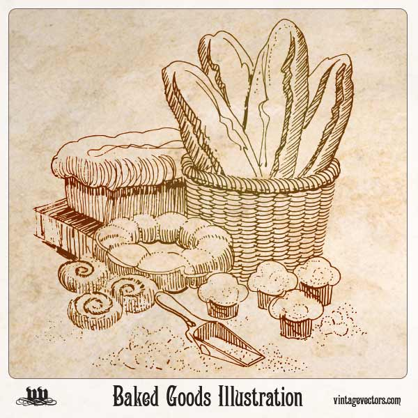 Vector art of Baked Goods Illustration - Folk Art Sketch Bread, Rolls, Cupcakes