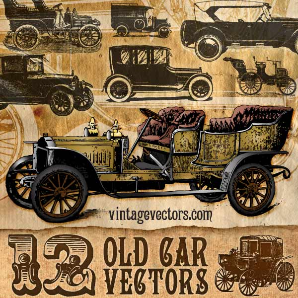 Vector art of 12 Antique Car Vectors: Coaches, Gangster, Gatsby Automobiles