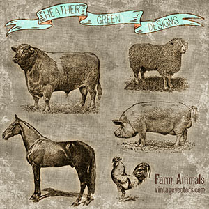 Farm Animal Vector Art Set