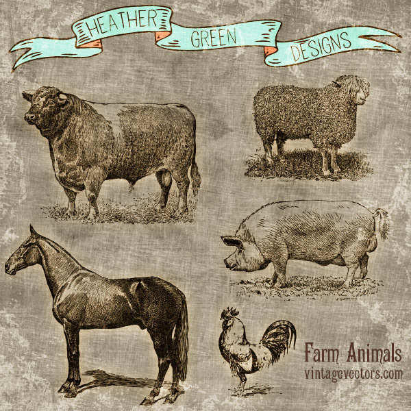 Farm Animal Vector Art Set