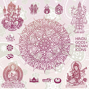 Hindu Gods Illustrations and Indian Ornaments