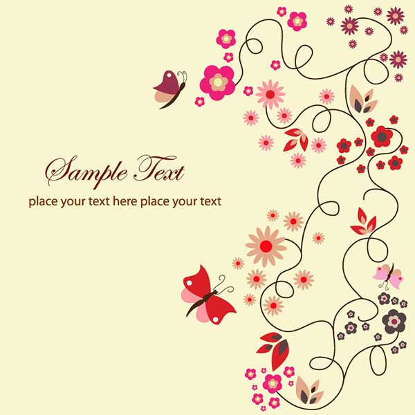 Vector art of simple vector floral greeting card