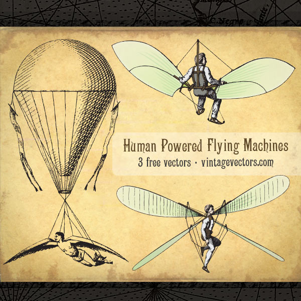 Vector art of Human Powered Flying Machines, Winged Contraptions