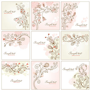 Shabby chic floral vector art set
