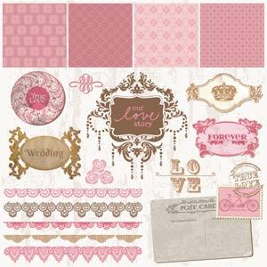 Vector art of vintage decorative wedding frames and ornaments