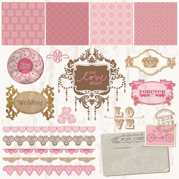 Vector art of vintage decorative wedding frames and ornaments