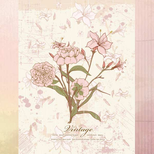 Vector art of Vintage Floral Illustration