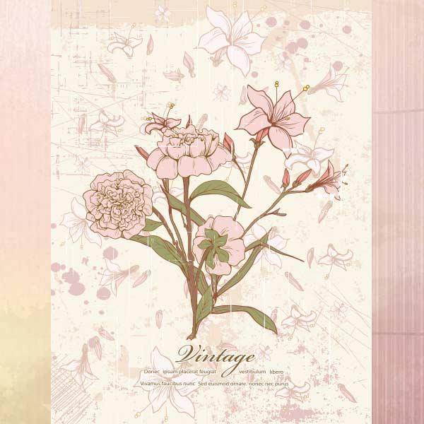 Vector art of Vintage Floral Illustration