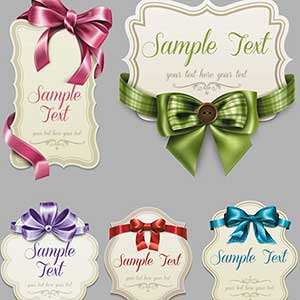 Vector art of Vintage Labels with Decorative Ribbons and Bows